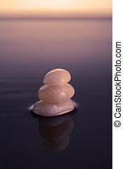 zen, cailloux, dans, eau calme