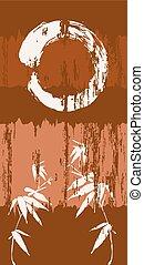 Zen circle and bamboo grunge wood background poster - Zen...
