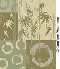 Zen circle and bamboo silhouette over vintage green texture poster background. Decorative oriental art patchwork.