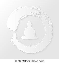 Zen circle and Buddha illustration - Clean Enso Zen circle...