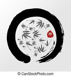 Zen circle illustration - Enso Zen circle and bamboo...