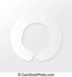 Zen circle paper shadow - Enso Zen circle illustration with...