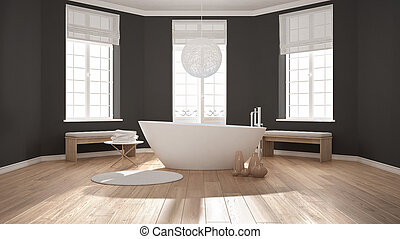 Zen Classic Spa Bathroom With Bathtub Minimalist Scandinavian Interior Design
