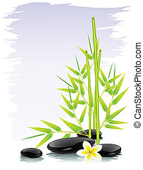 Zen background with bamboo and black stones