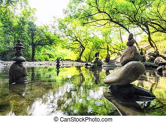 zen, elmélkedés, parkosít., csendes, és, lelki, természet,...