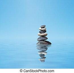 zen, equilibrado, piedras, pila
