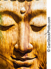 a zen wooden sculpture in an ancient oriental temple