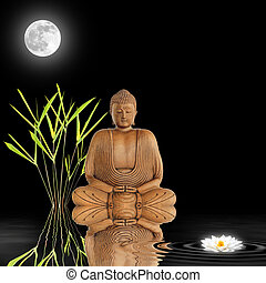 Zen Garden at Night - Zen abstract of a buddha in...