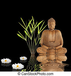 Buddha sitting in an abstract zen garden with bamboo leaf grass and white japanese lotus lily with reflection over rippled water. Over black background.