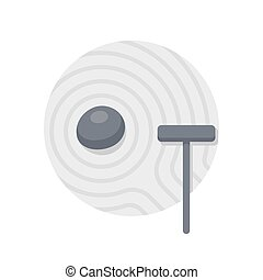 Zen garden illustration - Minimal Japanese rock garden icon....