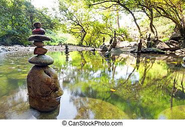 zen, garden., méditer, spirituel, paysage