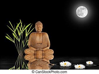 Zen Garden Peace - Buddha in meditation with bamboo leaf...