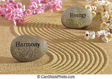 zen garden with harmony and energy