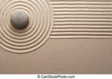 Zen Garden - Stone on raked sand; Mini rock garden.