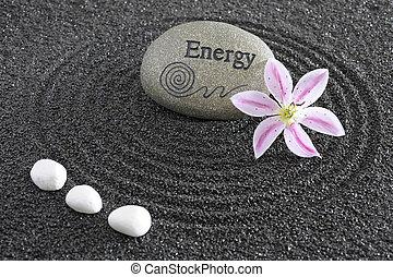 zen garden with stone of energy