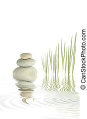zen, guijas, y, bambú, pasto o césped