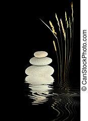 Zen Harmony - Zen abstract of wild grass and grey pebbles ...