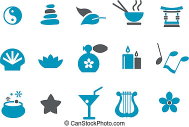 Zen Icon Set - Vector icons pack - Blue Series, zen...