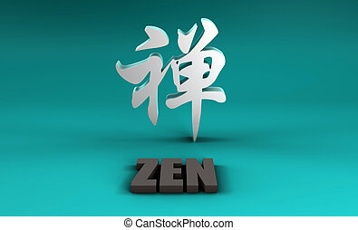 Zen in Kanji With a Blue Background