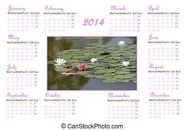 zen, inglés, calendario, para, 2014