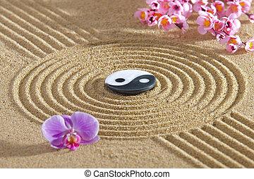 zen, japonaise, jardin