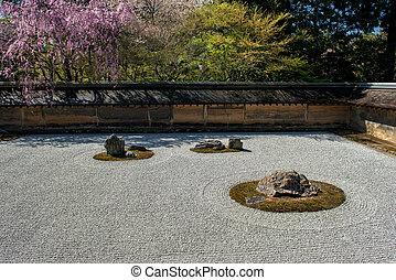 zen jardin, à, ryoan-ji, temple