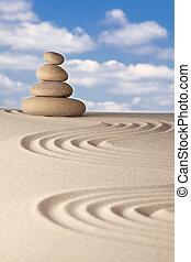 zen jardin, équilibre, harmonie