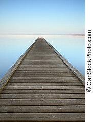 Zen jetty on misty lake - Jetty on misty Azur lake in...