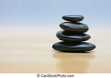 zen, kamienie, na, drewniany, powierzchnia