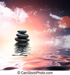 zen, kamienie, odbijanie się, w, woda, tło