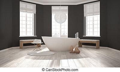 zen, klasszikus, ásványvízforrás, fürdőszoba, noha, fürdőkád, minimalista, skandináv, belső tervezés