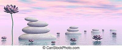 Zen lily flowers - 3D render
