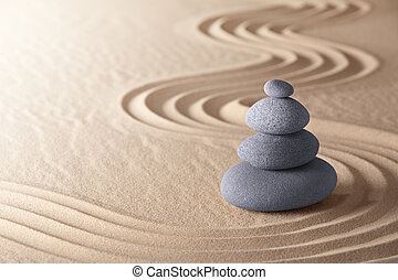 zen meditation garden japanese buddism concentration and relaxation stone and sand conceptual purity harmony and symplicity