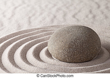 Zen meditation garden lines and patterns with sand and stones Japanes relaxation concept