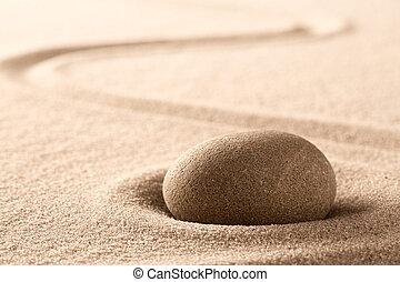 Zen meditation Japanese stone and sand garden