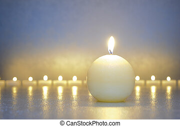 zen meditation with calm and candle lights