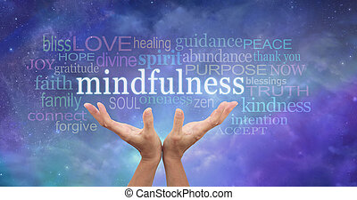 Female hands reaching up towards the word 'Mindfulness' floating above surrounded by a relevant word cloud on an ethereal blue night sky background