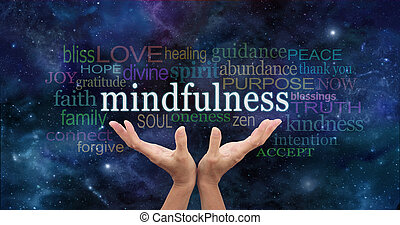Zen Mindfulness Meditation - Female hands reaching up...