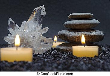 zen, mit, kristall, stein, und, kerze