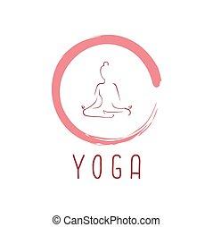 zen, ontwerp, vector, yoga, logo