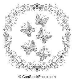 zen ornamental butterfies into floral mandala - Hand drawn...