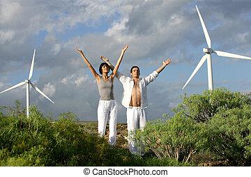 zen, par, på, a, vind lantgård
