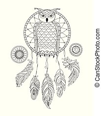 zen patterned dreamcatcher with owl for adult coloring
