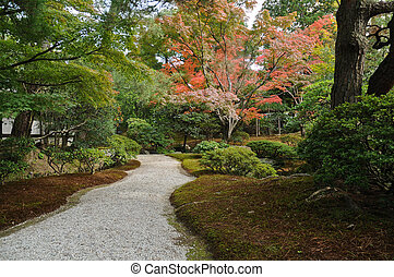 Zen peaceful passage in Japanese garden in Autumn