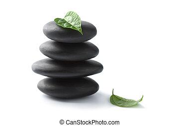zen, pedras, com, folhas, isolated., spa, fundo
