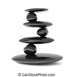 zen, pedras, equilíbrio, conceito