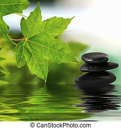 zen, pedras, ligado, água