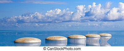 zen, petit, sky., rang, 3d, bleu, pierres, illustration, grand, eau
