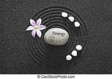 zen, piasek, czarnoskóry, ogród