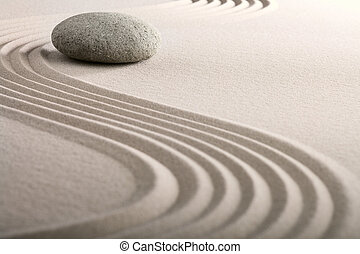 zen, piasek, kamień ogród